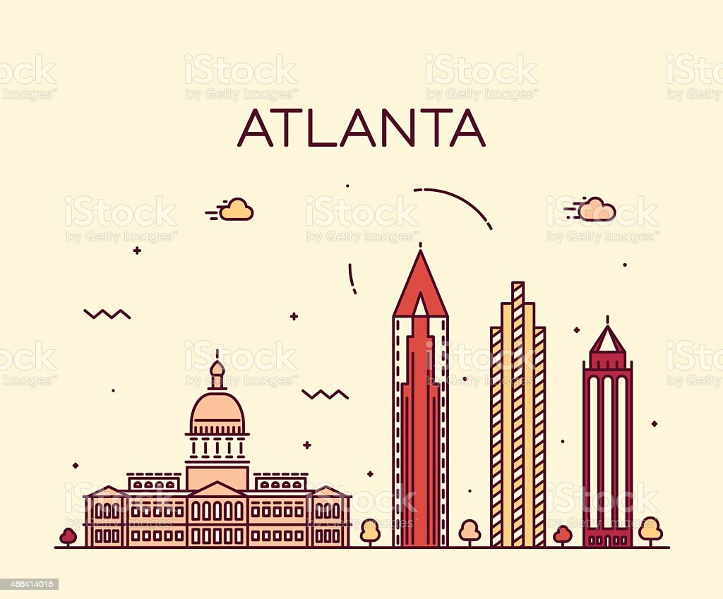 Atlanta skyline trendy vector illustration linear vector art illustration