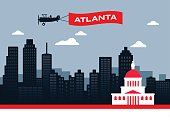 Atlanta Georgia USA skyline concept illustration.