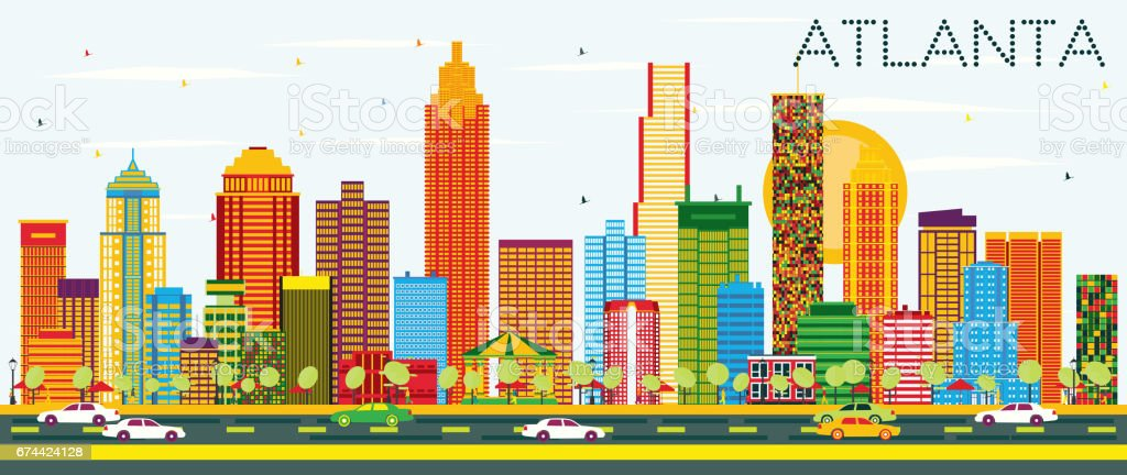 Atlanta Skyline with Color Buildings and Blue Sky. vector art illustration