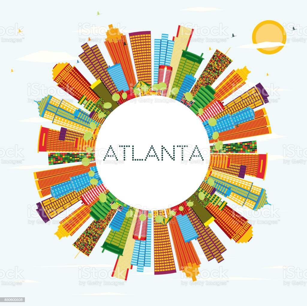 Atlanta Skyline with Color Buildings, Blue Sky and Copy Space. vector art illustration