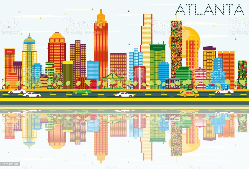 Atlanta Skyline with Color Buildings, Blue Sky and Reflections vector art illustration