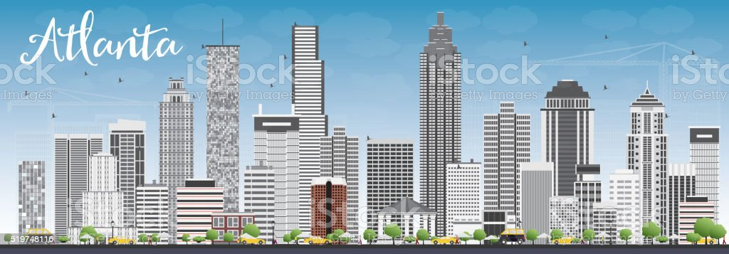Atlanta Skyline with Gray Buildings and Blue Sky. vector art illustration