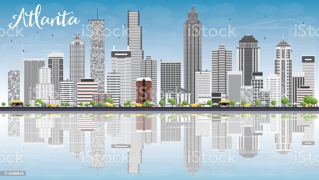 Atlanta Skyline with Gray Buildings, Blue Sky and Reflections. vector art illustration