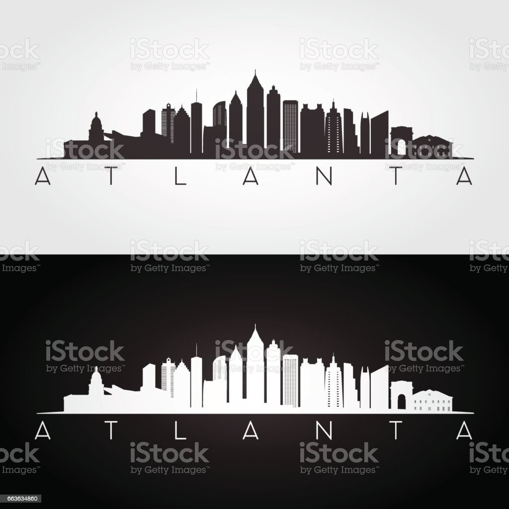 Atlanta USA skyline and landmarks silhouette vector art illustration