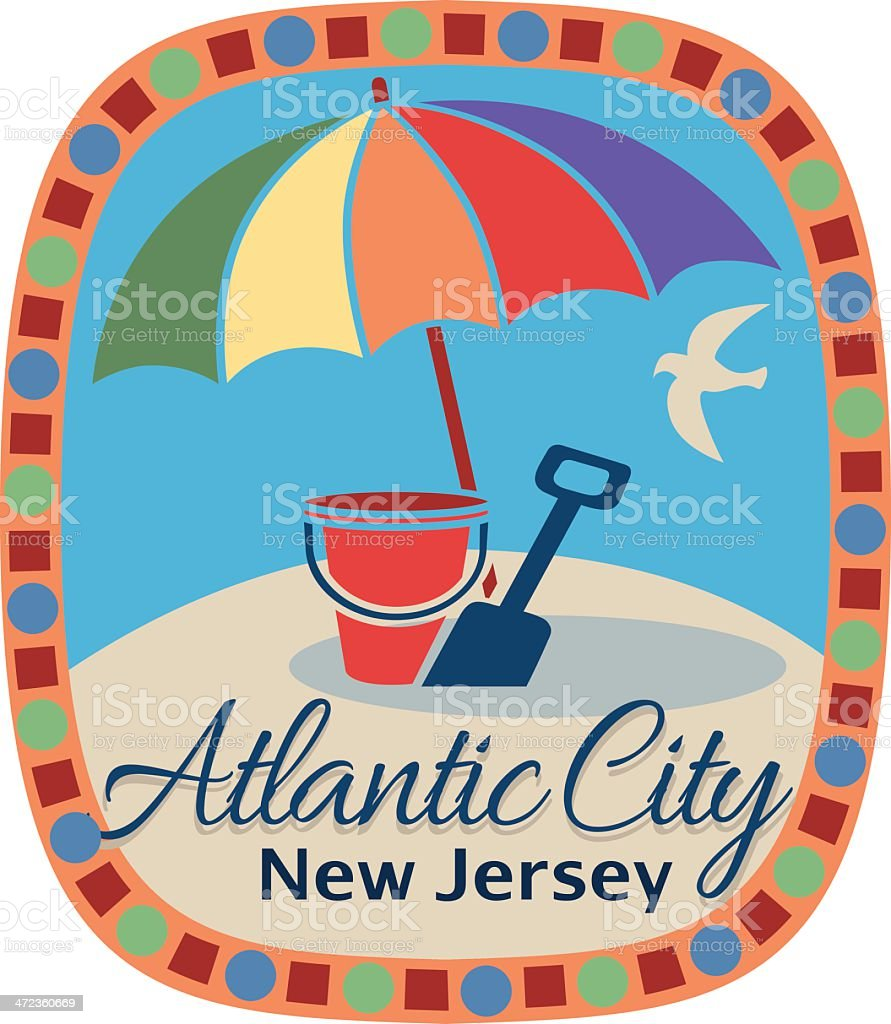 Atlantic City luggage label or travel sticker vector art illustration