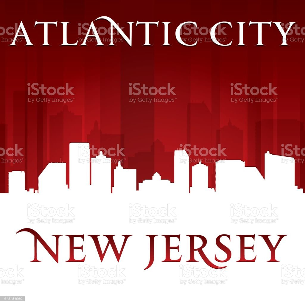 Atlantic city New Jersey city skyline silhouette vector art illustration