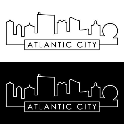 Atlantic city skyline. Linear style. Editable vector file.