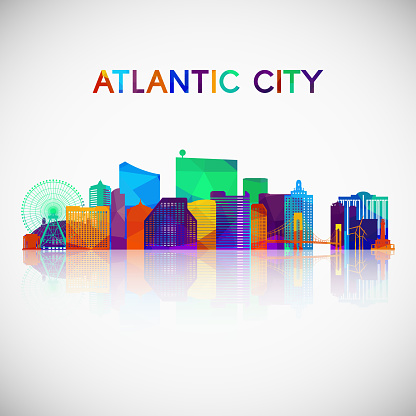 Atlantic city skyline silhouette in colorful geometric style. Symbol for your design. Vector illustration.