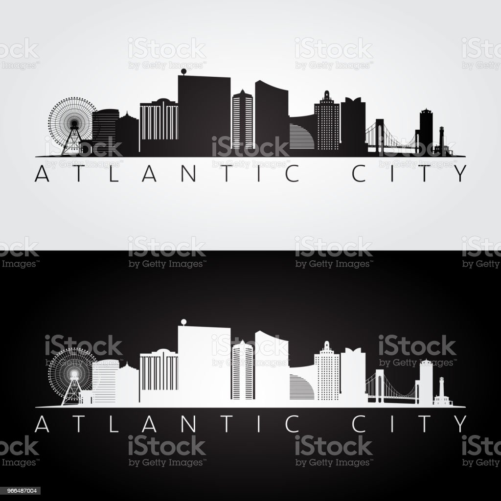 Atlantic city, USA skyline and landmarks silhouette, black and white design, vector illustration. vector art illustration