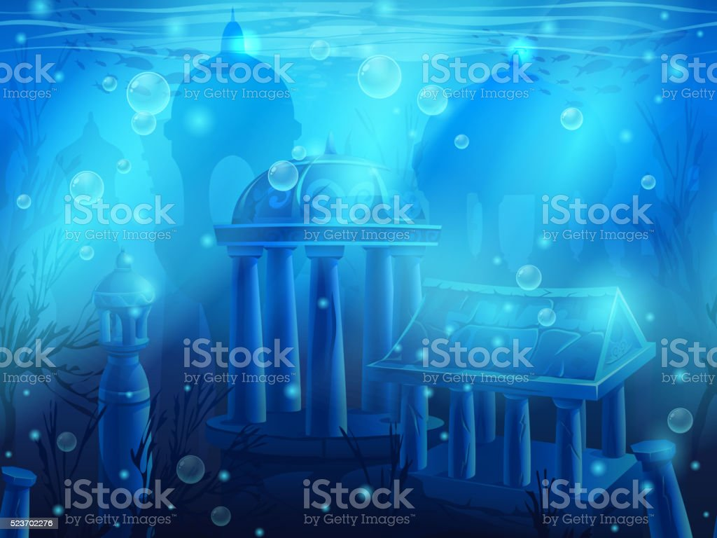 Atlantis. Seamless submerged underwater city, the ancient ruins vector art illustration
