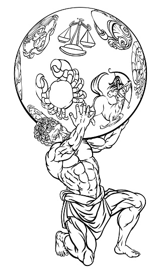 Atlas Greek Mythology Illustration Stock Illustration