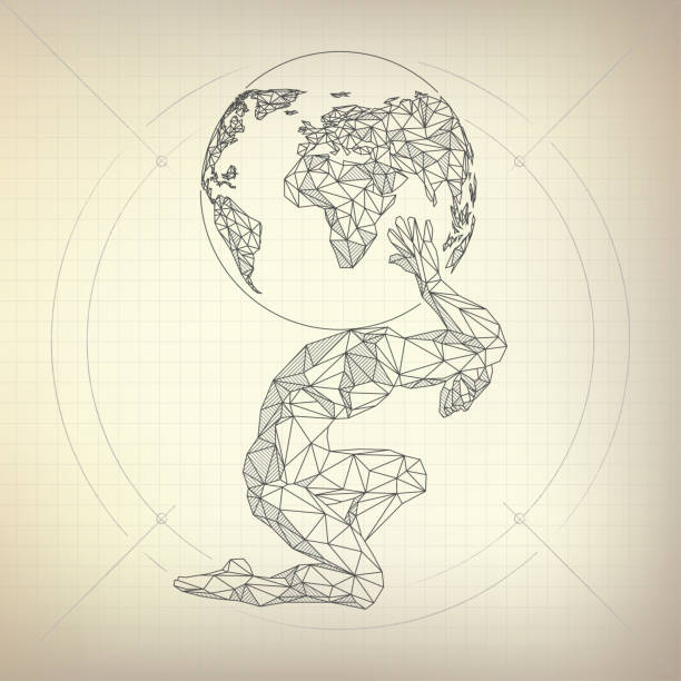 Atlas Man wireframe polygon man carrying globe in futuristic retro style, vector of atlas in modarn abstract style god stock illustrations