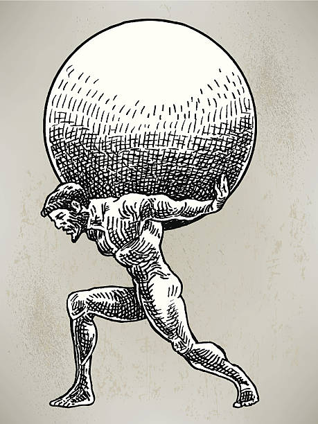 """Atlas - Weight of World Pen and ink illustrations of Greek and Roman Gods. Check out my """"Old School Art"""" light box for more. god stock illustrations"""