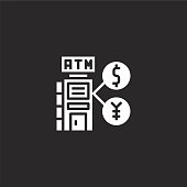 atm icon. Filled atm icon for website design and mobile, app development. atm icon from filled gas station collection isolated on black background.