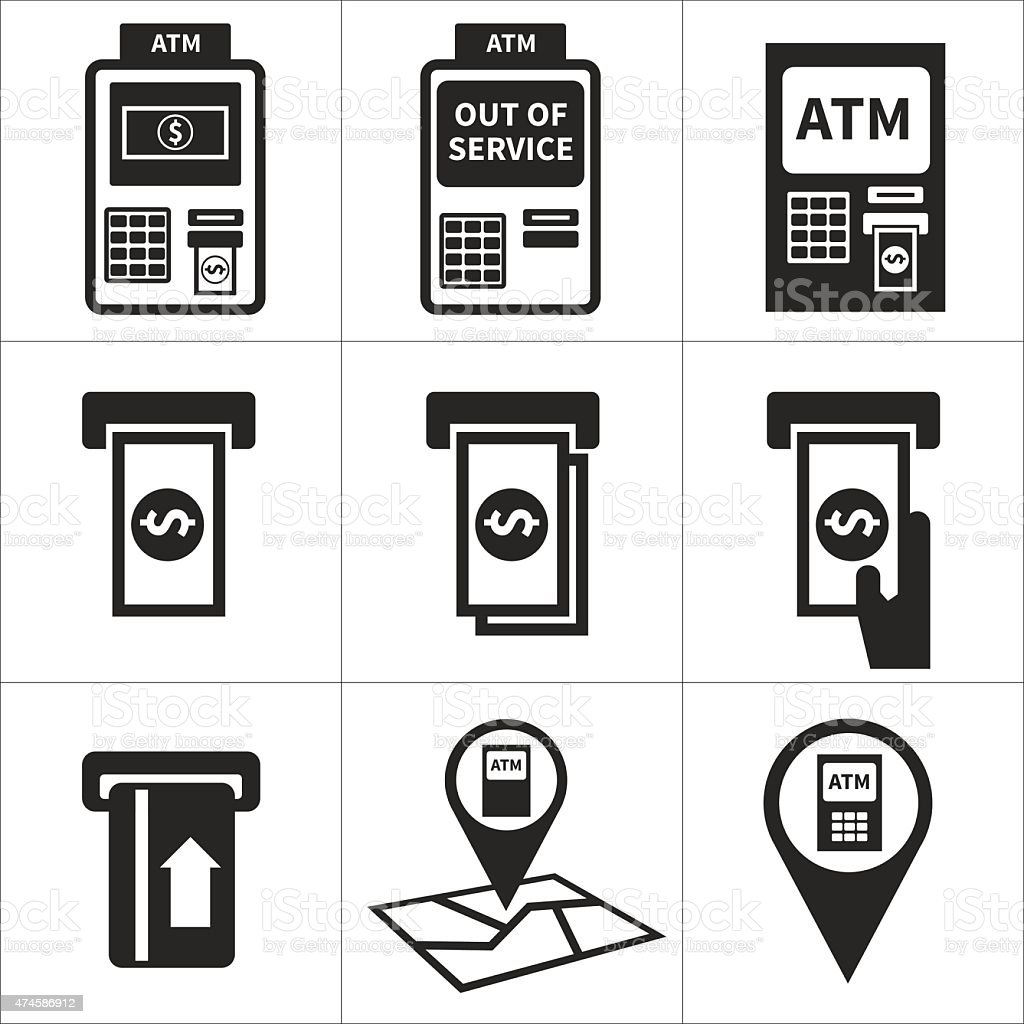 atm icon set vector art illustration