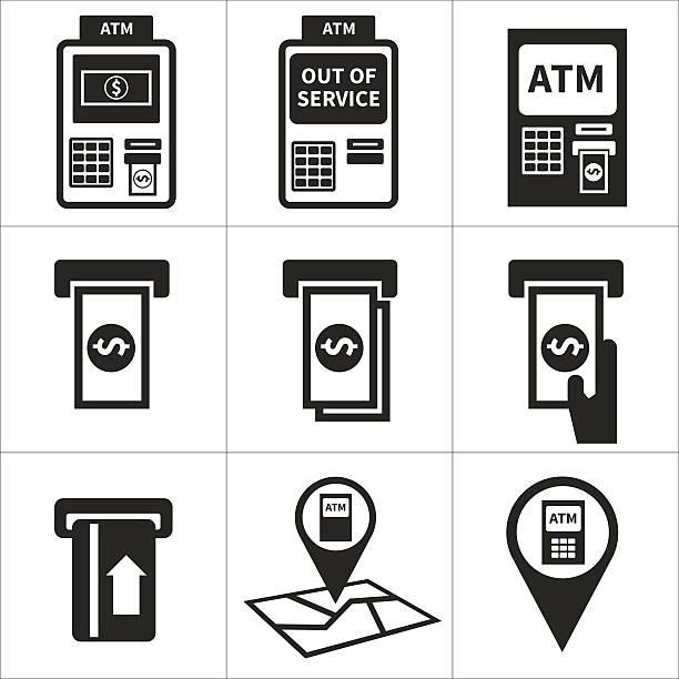 atm icon-set - geldautomat stock-grafiken, -clipart, -cartoons und -symbole