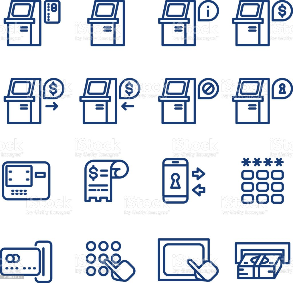 Atm terminal vector thin line icons set vector art illustration