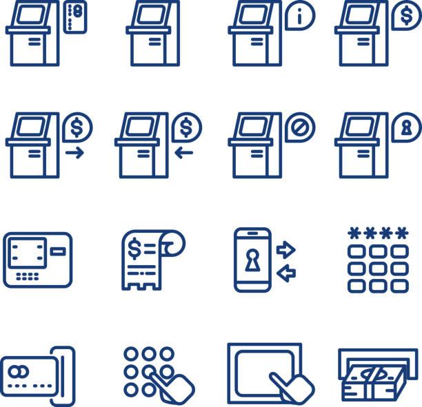 Atm terminal vector thin line icons set Atm terminal vector thin line icons set. Money and banking service, finance payment transaction illustration banking silhouettes stock illustrations
