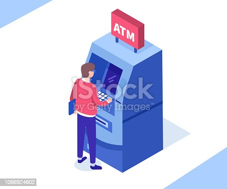 Man customer standing near atm machine. Can use for web banner, infographics, hero images. Flat isometric vector illustration isolated on white background.