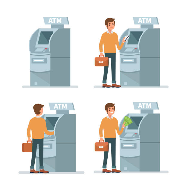 atm - geldautomat stock-grafiken, -clipart, -cartoons und -symbole