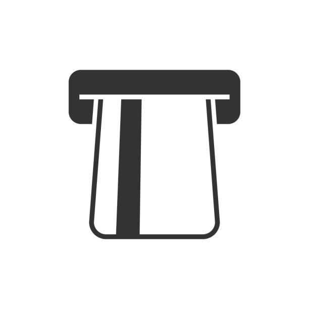 Atm with card black icon Atm with card black icon on white inserting stock illustrations
