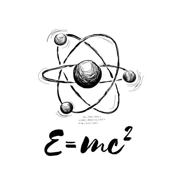 stockillustraties, clipart, cartoons en iconen met atoom getekend met formule. abstracte vectorillustratie op wit - e learning