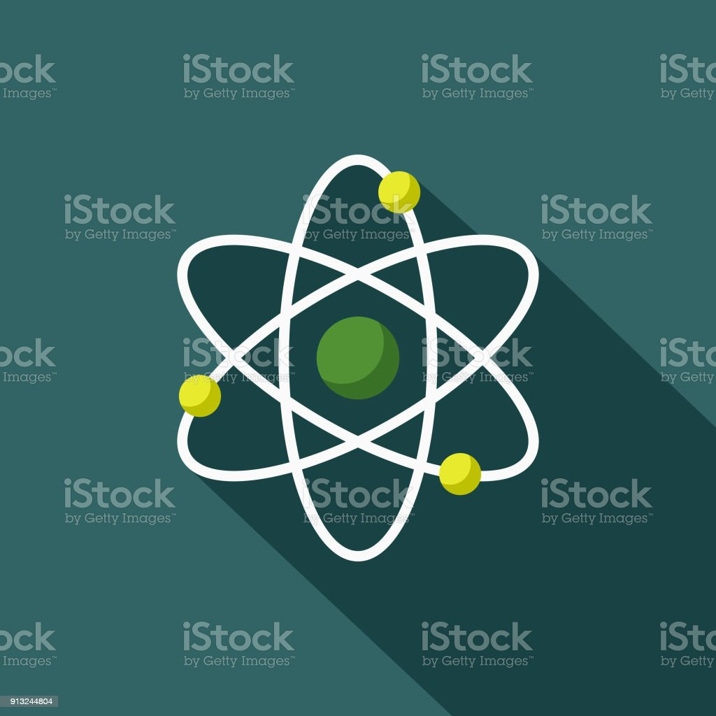 Atom Flat Design Environmental Icon vector art illustration