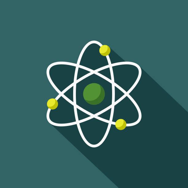 stockillustraties, clipart, cartoons en iconen met atoom platte ontwerp milieu pictogram - physics