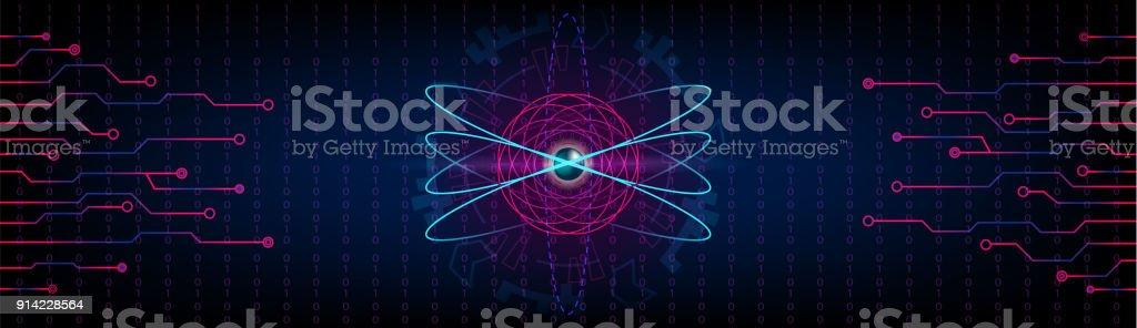 Hud atom futuristic panoramic background with electrons metallic hud atom futuristic panoramic background with electrons metallic core and numbers future sci fi voltagebd Images