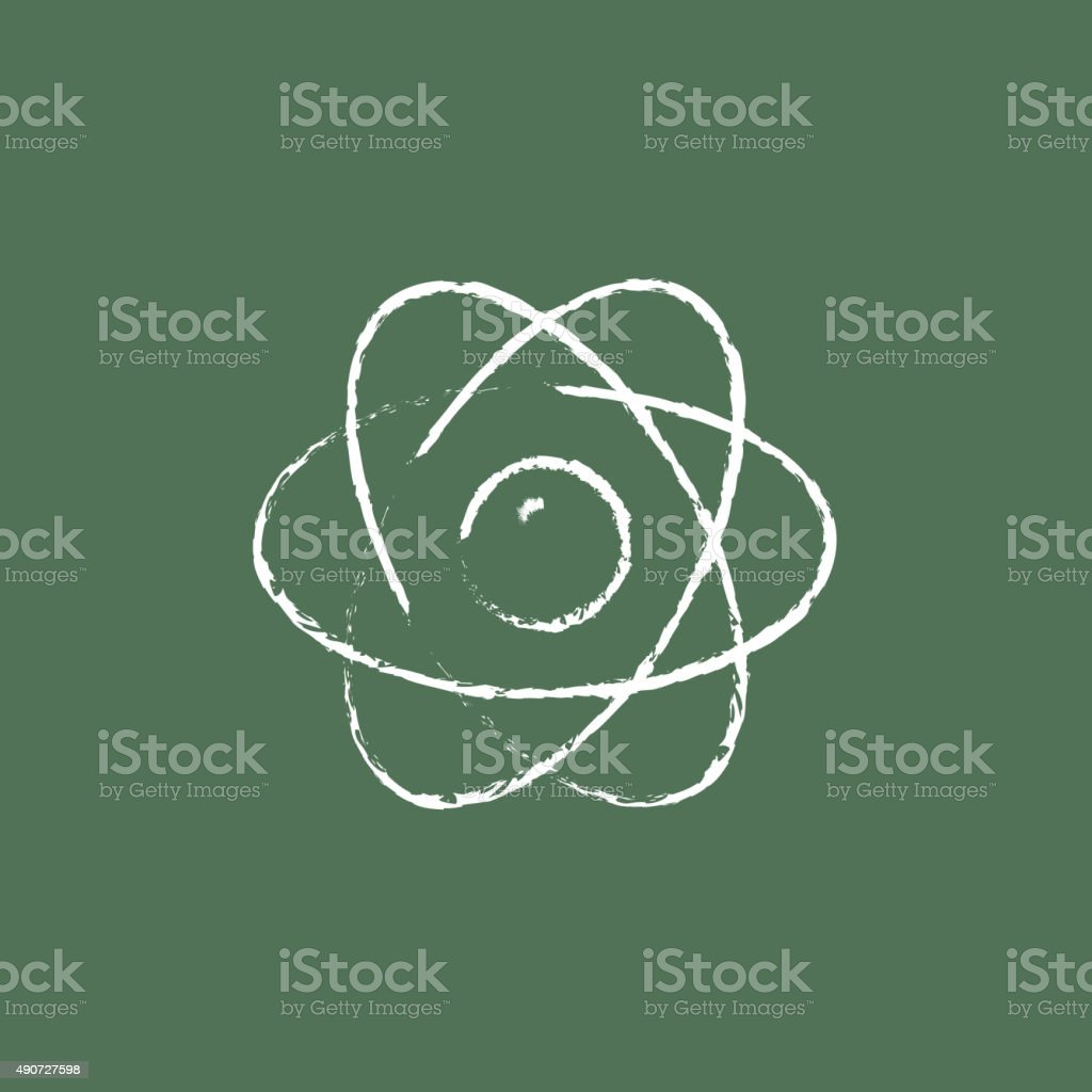 Atom Icon Drawn In Chalk Stock Vector Art More Images Of 2015 Carbon Dioxide Co2 Atomic Diagram Royalty Free Photo Image