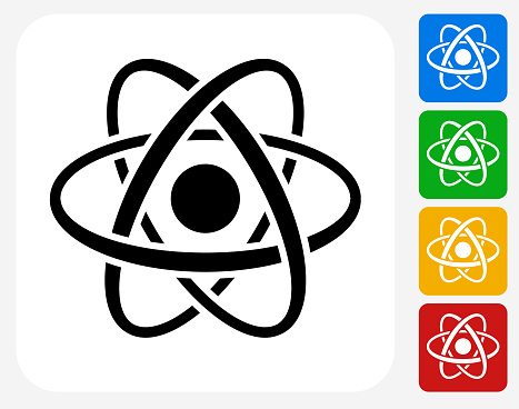 Atom Icon. This 100% royalty free vector illustration features the main icon pictured in black inside a white square. The alternative color options in blue, green, yellow and red are on the right of the icon and are arranged in a vertical column.