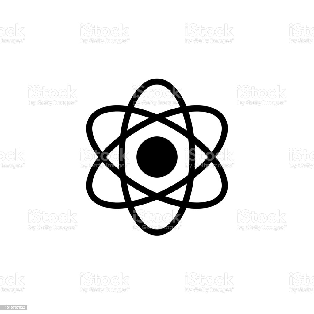 Atom Icon In Trendy Flat Style Isolated On Grey Background Atom