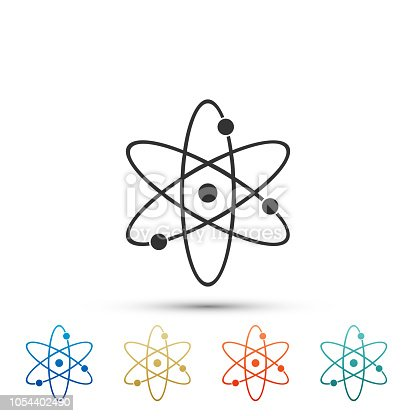 Atom icon isolated on white background. Symbol of science, education, nuclear physics, scientific research. Electrons and protonssign. Set elements in colored icons. Flat design. Vector Illustration