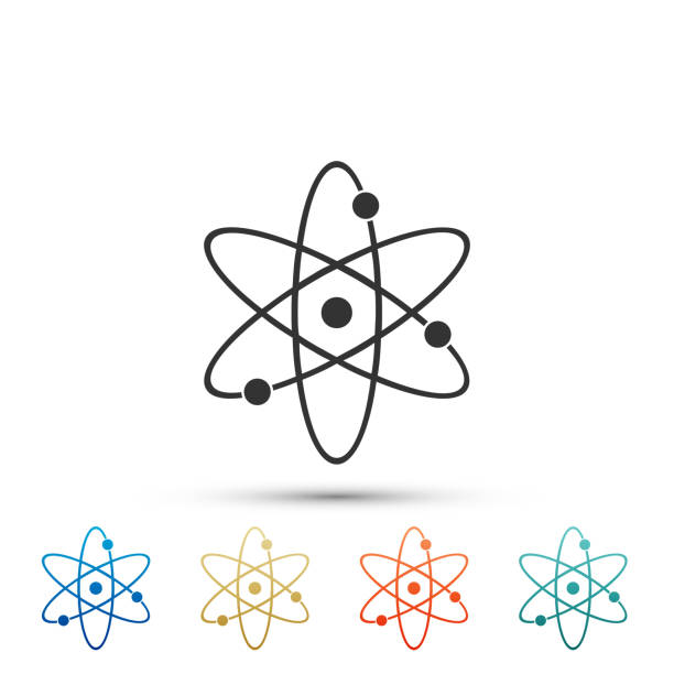 Atom icon isolated on white background. Symbol of science, education, nuclear physics, scientific research. Electrons and protonssign. Set elements in colored icons. Flat design. Vector Illustration Atom icon isolated on white background. Symbol of science, education, nuclear physics, scientific research. Electrons and protonssign. Set elements in colored icons. Flat design. Vector Illustration atom stock illustrations