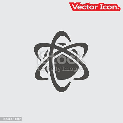 atom icon isolated sign symbol and flat style for app, web and digital design. Vector illustration.