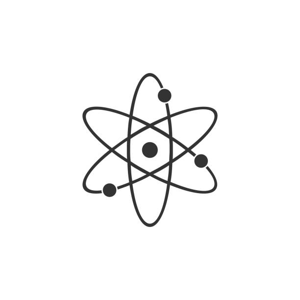 Atom icon isolated. Symbol of science, education, nuclear physics, scientific research. Electrons and protonssign. Flat design. Vector Illustration Atom icon isolated. Symbol of science, education, nuclear physics, scientific research. Electrons and protonssign. Flat design. Vector Illustration atom stock illustrations