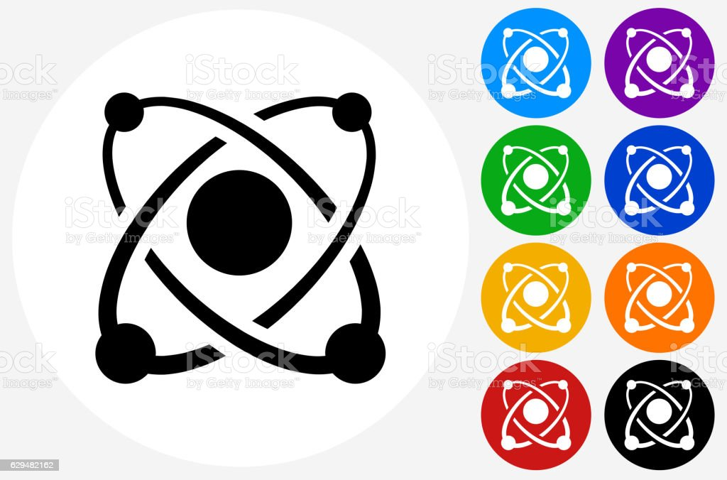 Atom Icon on Flat Color Circle Buttons vector art illustration