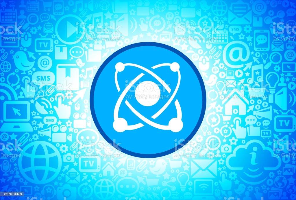 Atom  Icon on Internet Technology Background vector art illustration