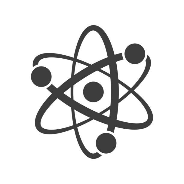 Atom icon on white background. Atom icon on white background. Vector illustration atom stock illustrations