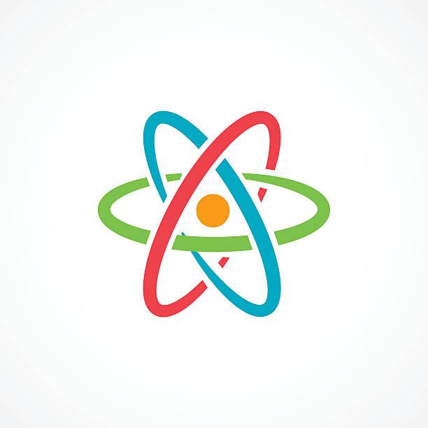 Atom Icon Sign Atom Icon Sign on white background atom stock illustrations