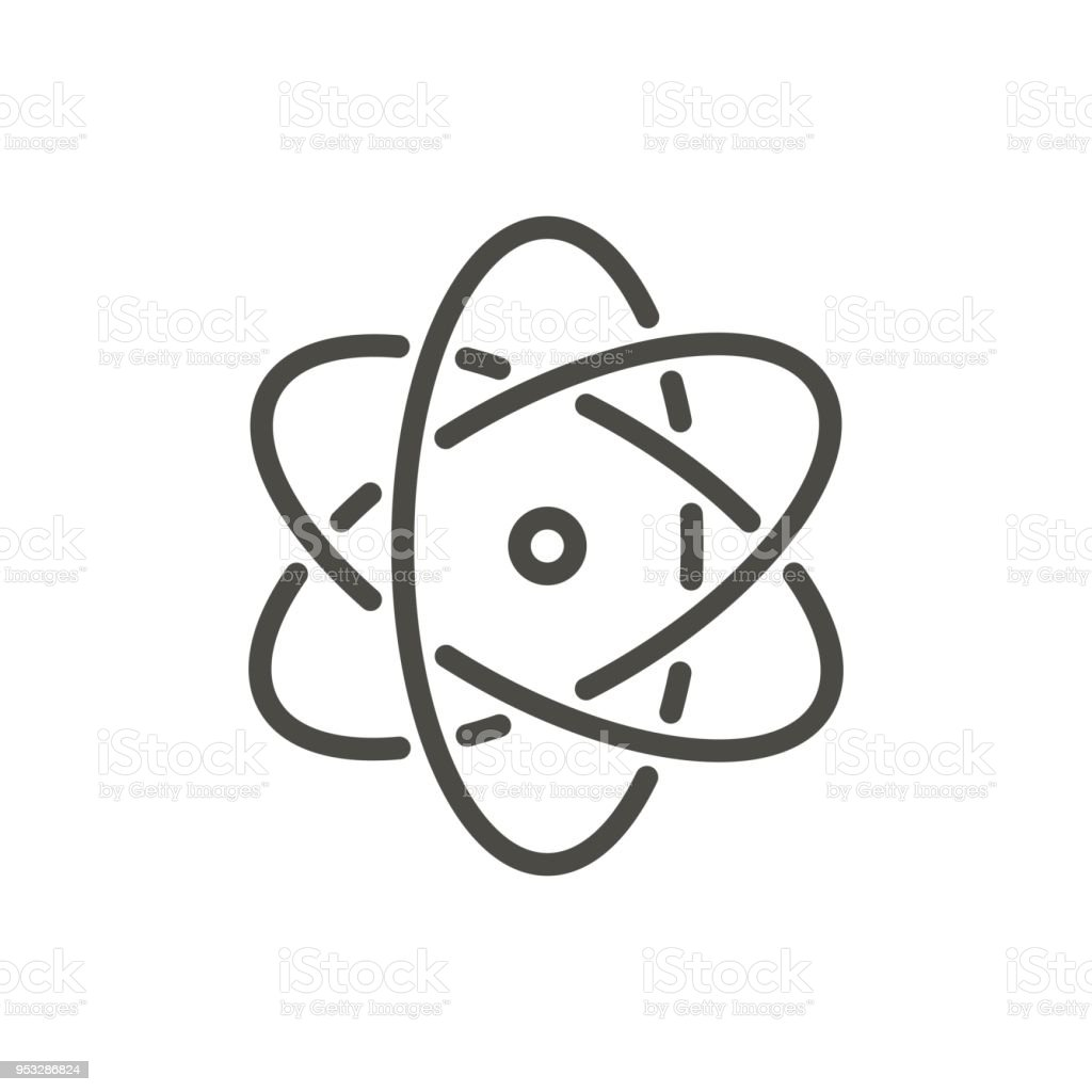 Atom Icon Vector Line Nuclear Symbol Stock Vector Art More Images