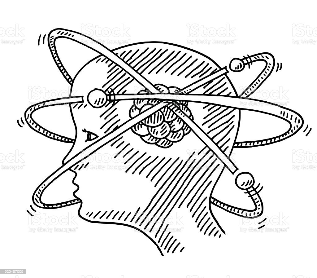 science drawing atom molecule concept head vector illustration istock vectors