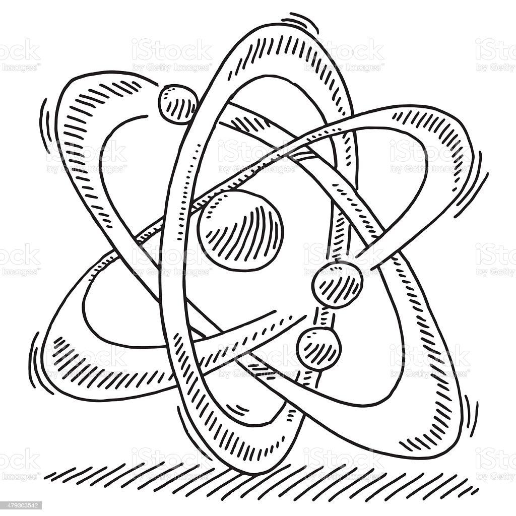 Atom Molecule Science Symbol Drawing vector art illustration