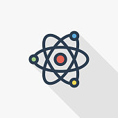 Atom, Physic Symbol thin line flat color icon. Linear vector symbol. Colorful long shadow design.