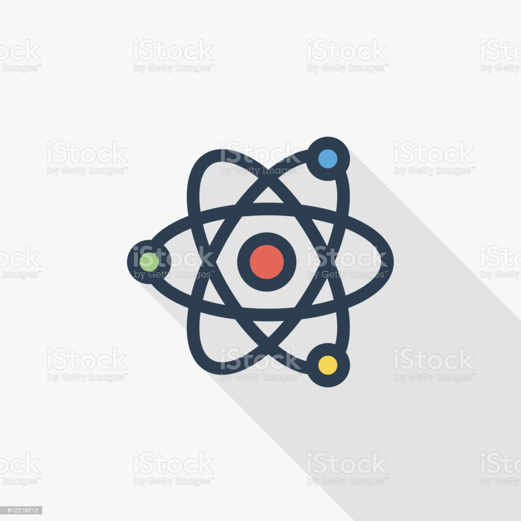 Atom, Physic Symbol thin line flat color icon. Linear vector symbol. Colorful long shadow design. vector art illustration