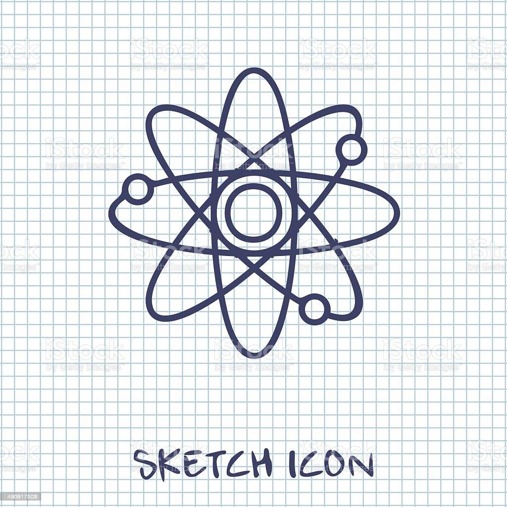 Atom sign icon vector art illustration