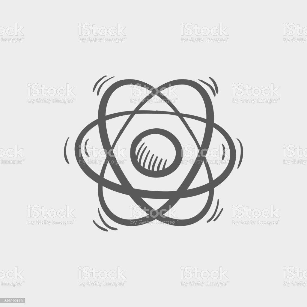 Atom sketch hand drawn doodle icon vector art illustration