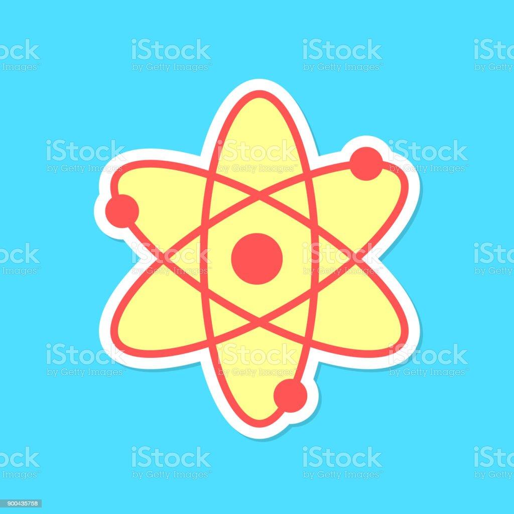 autocollant de l'atome avec ombre isolé sur fond bleu - Illustration vectorielle