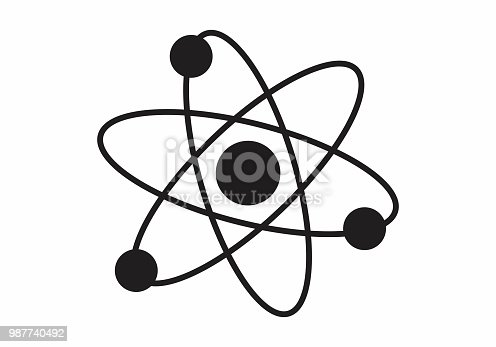 Illustration of the structure of an atom on white background