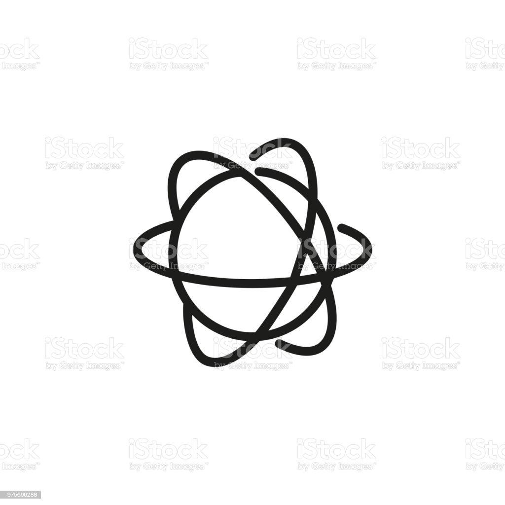 Atom structure line icon vector art illustration
